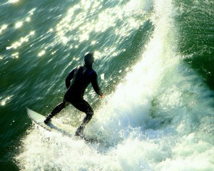 Surfing at Pismo Beach, California