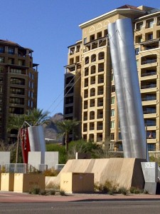 The Paolo Soleri Bridge on the waterfront in Scottsdale Arizona